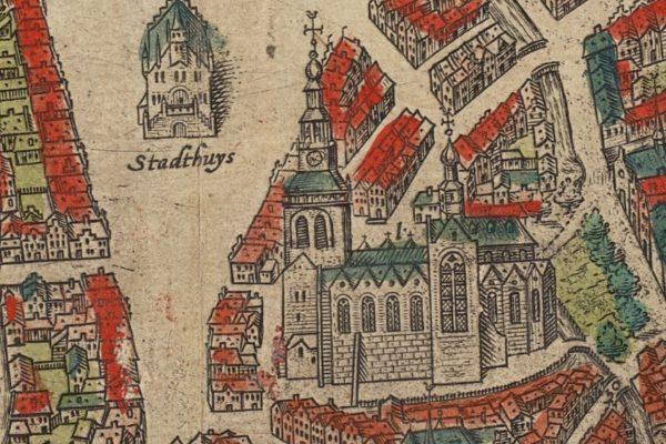 SAMH 0054 1205 detail Sint Janskerk kaart Braun en Hogenberg uit 1585