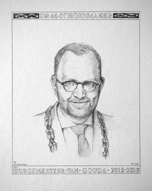 Tekening Burgermeester Milo Schoenmaker